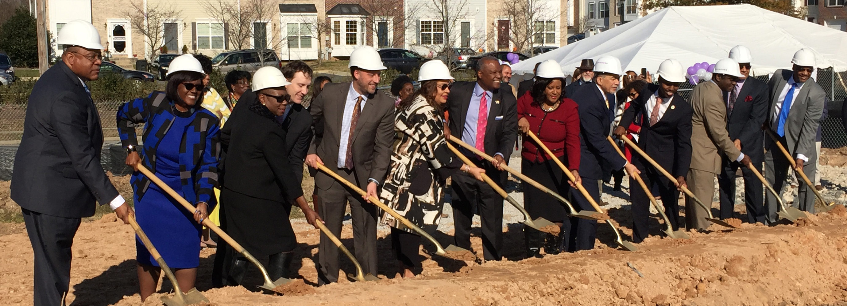 Team members breaking ground at Glenarden project