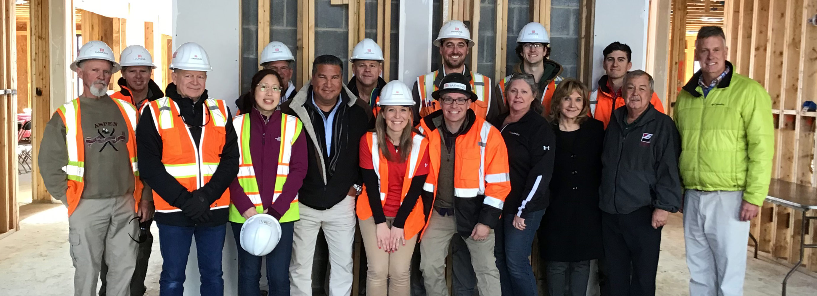 Beechtree team, owner, and architect gather for topping out